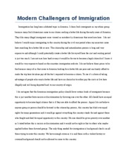 Modern Challengers of Immigration
