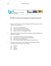 Bcicertificatesamplequestions bci sample questions the bci bcicertificatesamplequestions bci sample questions the bci certificate examination sample questions 1 the scope of the business continuity yadclub Gallery