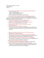 Fermentation worksheet Bio 210 Robert Morgan