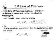 1st Law of Thermodynamics & Forms of Energy Transfer