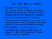 Special Deductions