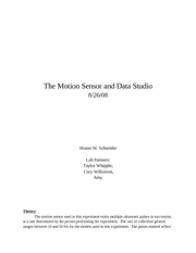 The Motion Sensor and Data Studio