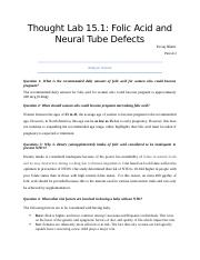 Thought Lab 15.1 - Folic Acid and Neural Tube Defects