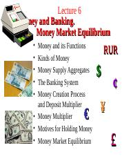 Lecture 6. Money and Banking