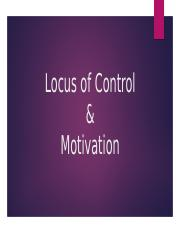 Locus of Control and Motivation