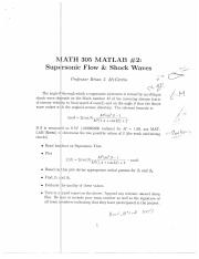 Supersonic Flow and Shock Waves Matlab