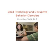 Child Psychology and Disruptive behavior Disorders