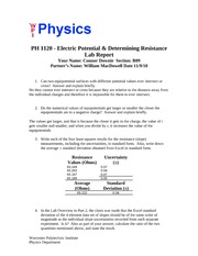 Electric Potential - Determining Resistance - CD