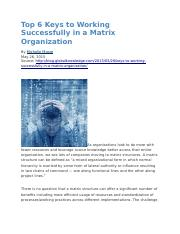 Top 6 Keys to Working Successfully in a Matrix Organization.docx