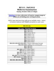 Midterm Exam Writing Locations