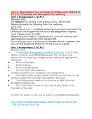 Unit 1- Appropriate Use of Financial Statements (9.8.15 to 9.13.15) Financial and Managerial Account