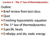 AOS 101 - Lecture 4 - 1st law of thermodynamics
