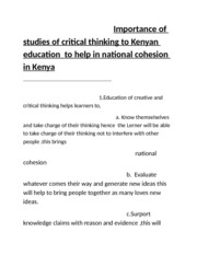 Importance of studies of critical thinking to Kenyan education  to help in national cohesion in Keny