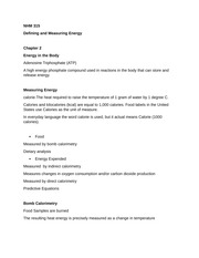 NHM 315 Defining and Measuring Energy Notes