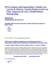 PPACA Impact and Opportunities   Health Care Lawyer & Attorney   Epstein Becker Green Law Firm
