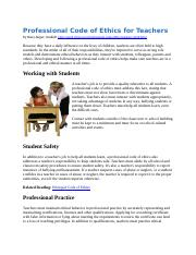 Professional Code of Ethics for Teachers 2016 (1)