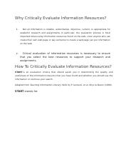 Why Critically Evaluate Information Resources.docx