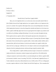 Kaitlyn Gee-How Children Succeed Essay 1