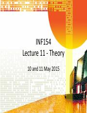 Lecture 11 Theory (11 and 12 May)