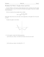Worksheet for Week 3- Graphs of f(x) and f'(x)