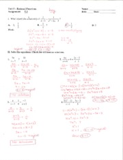 Assignment 5-4 Answer Key - Unit 6 — Rational Functions Name