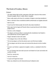 Religion 1009 The Book of Exodus, Moses