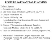 YULECTURE #4-Matrimonial Issues and Taxation,October 4, 2007