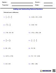 fractionsadding and subtracting rational numbers worksheetspdf   pages inclusing alladding and subtracting rational numbers worksheetspdf