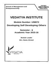 U58072 Developing Self Developing others 2015-16.doc