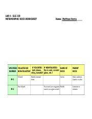 LAB04-Metamorphic Rocks Worksheet