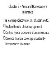 Chapter 8 - Auto and Home Insurance