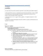 Research Project- Is the theory of Zombies possible?