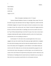 Response Paper Exemplary Leadership