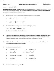 MATH 180 Sample Test 3