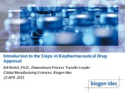 BEC 220 Spring 2015 Lecture 14 Introduction to the Steps in Biopharmaceutical Drug Approval (Dr. Bil