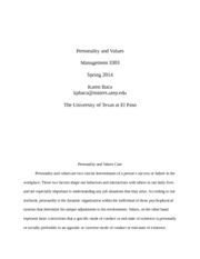 Personality and Values1 Paper