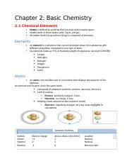 Notes Ch2- Basic Chemistry