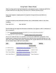 Assignment Implementation of Competitive Strategy 767 Fa14(Chinese Panda).docx