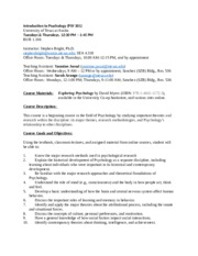Introduction to Psychology Syllabus and Learning Objectives PSY 301 Spring
