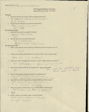 Tragedy of Romeo and Juliet Worksheet