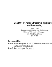 Polymer Structures, Applications and Processing