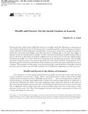 wealth and poverty. On the social creation of scarcity