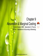Chapter 9 Absorption & Marginal Costing