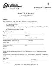 Freda T Roof Scholarship application