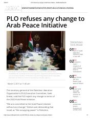 Middle east monitor-PLO refuses any changes to Arab Peace Initiative-March 2017