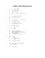 MTH211 2013 Exam Final Answers