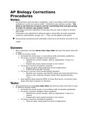 AP Biology Corrections Procedures a