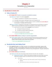 Notes - CH 2 - Formation of Corporations
