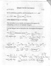 Integral Test for Convergence Notes