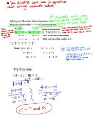 2.1-2.2 Solving Absolute Value Note KEY